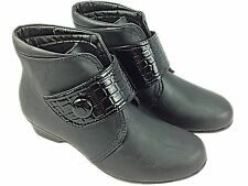 Ladies Black Velcro  Boot Button Faux Croc Strap Faux Leather Wedge Ankle Winter