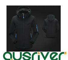 Premium Men Outdoor Climbing Sports Hooded Soft Shell Cycling Jacket Coat Black