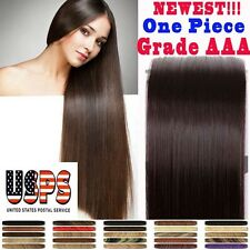 "Deluxe 20"" 22"" Clip In Remy Human Hair Extensions One Piece Top Celebration F485"