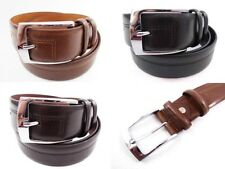 MENS STRONG HIGH QUALITY BONDED LEATHER BELT WITH SILVER BUCKLE BROWN TAN BLACK