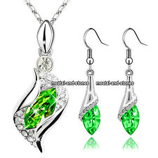 Emerald Green Crystal Necklace Earrings Valentine Love New Romantic Gift For Her