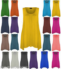 New Ladies Hanky Hem Womens Long Sleeveless Scoop Neck Plus Size Vest Top 8-26