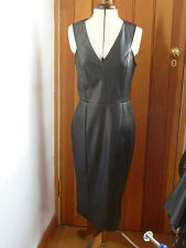 ATMOSPHERE PRIMARK BLACK FAUX LEATHER VEGAN BODYCON SEXY TIGHT DRESS 6 TO 20 NEW