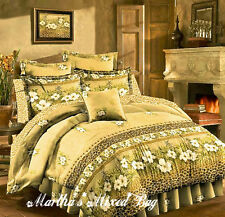 NEW Hawaiian TROPICAL Hibiscus CHEETAH LEOPARD Print Yellow COMFORTER SET+PILLOW