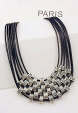 Vintage Multi Layers Maxi Collares Leather Statement Necklaces for Woman 135823