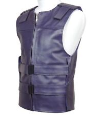 Purple Leather Motorcycle Vest - Bulletproof Style - FREE Delivery - PWVests