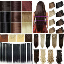 Elegant 8pcs Real Thick long Straight thick Clip In Full Head Hair extensions Kl