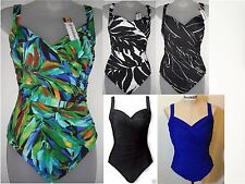 NWT Miraclesuit Women's Printed Sanibel 1 PC One Piece Swimsuit Black Blue