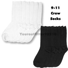 3 6 12 Pairs Lot Women Crew School Socks Plain Solid Black White Size 9-11