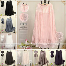 Long Lace Ribbon Trim Tiered Layered Pleated Elastic Waist Mesh maxi Skirt