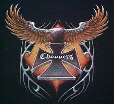NEW Mens American Bald Eagle CHOPPERS Motorcycle Black Biker T-Shirt - S - 3X