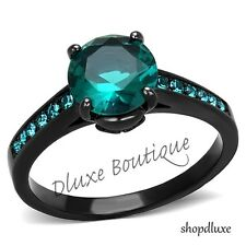 2.25 CT ROUND CUT BLUE ZIRCON CZ BLACK STAINLESS STEEL ENGAGEMENT RING SIZE 5-10