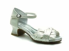 New Girls Ivory Bow Heel Sandal Christening Wedding Bridesmaid Party Prom Shoe