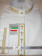 Mens Cross Embroidered Nehru Collarless Banded Dress Shirt White/Gold DS2005C