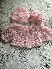 Handmade Crochet Baby Set 3PC Sweater Hat Shoes Baby Pink