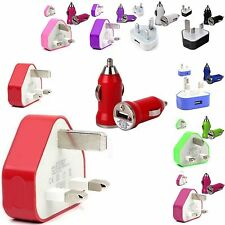 CE COLOUR PLUG WALL MAINS USB+CAR BULLET CHARGER FOR LATEST MOBILE PHONES