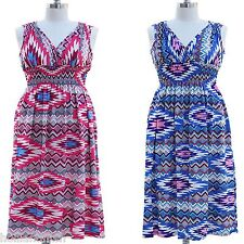 NWT JON & ANNA Aztec Print V-Neck Smocked Long Maxi Summer Dress Beach Womens