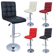 Set of 2 Bar Stools Leather Modern Hydraulic Swivel Dinning Chair Pair Barstools