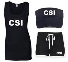 CSI Ladies Outfit 8-16 Fancy Dress Costume Vests Shorts Visor Hat Pack Police