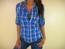 SEXY BLUE WHITE COUNTRY CHIC PLAID  BUTTON DOWN COLLAR POCKET TOP SHIRT BL107