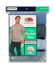 New Fruit of the Loom Men's 4-Pack Crewneck Pocket T-Shirts Gray Sizes M-3XL