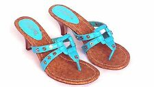 New Kitten Medium High Heel Sandals Medium Width Thong Peace Sign Studs Shoe