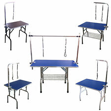 FoxHunter Folding Dog Pet Grooming Table Height Adjustable Arm Non Slip Top New