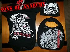 SAMCRO 3 PIECE SONS OF ANARCHY LICENSED BABY  ONESY DIAPER SUIT BIB N BEANI