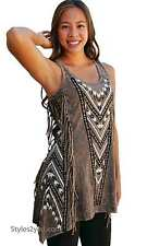 Vocal Clothing Zinnia Rhinestone And Fringed Tunic In Brown