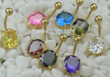 Gold Plated Luxury CZ Gem Navel Belly Bar Button Ring Crystal Dangle UK Seller