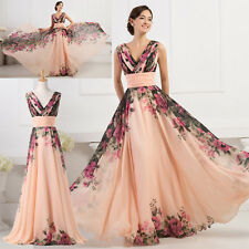 50's Pinup Vintage Floral Print Sexy V Neck Long Evening Party Prom Gowns Dress