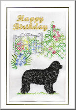 Newfoundland Birthday Card Embroidered by Dogmania  - FREE PERSONALISATION