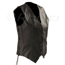 Womens Leather Vest with Zip Pocket detail Size 8 - 20