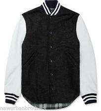NWT Mark McNairy New Amsterdam Shirt Tail Leather Sleeve Varsity Jacket RRP $650