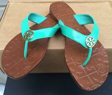 TORY BURCH THORA 2 SANDAL THONG FLIP FLOP ISLAND TURQUOISE BLUE PATENT NEW! $135