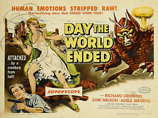 REPRO DECO AFFICHE CINEMA DAY THE WORLD ENDED 1956 SUR PANNEAU MURAL BOIS HDF