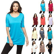 IRON PUPPY Women Half Slv Solid Piko Style Top Soft BAMBOO Tunic Batwing Shirts