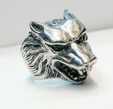 Solid Visual Gothic Wolf Stainless Steel Mens Boys Cool Blue Eye Biker Ring 8-14