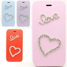 Lovely Handmade Bling Crystal Rhinestone Flip Stand Leather Case For iPhone 6 6S
