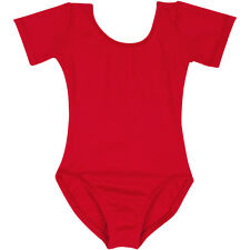 RED Short Sleeve Leotard for Toddler & Girls