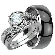 3 PCS His & Hers TUNGSTEN & .925 STERLING SILVER Engagement Wedding Rings Set CZ