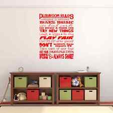 Playroom Rules Vinyl Wall Sticker Wall Decal for Bedroom or Playroom