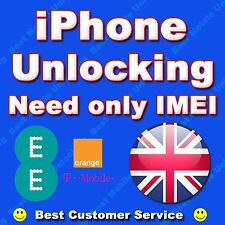 ORANGE T MOBILE EE UK iPHONE 3GS 4 4S 5 Permanent Unlocking...CLEAN IMEI SUPPORT