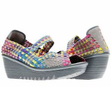 NEW! Womens BERNIE MEV Hallie Multi Color Wedge Comfort Mary-Jane Shoes! Spring!