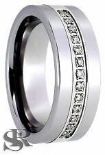 8mm Men's Tungsten Carbide with 13 CZ Ring Comfort Fit Size 7.5 to 14