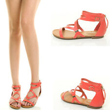 Grapefruit Open Toe Metal Trim Strappy Cage Cut Out Gladiator Womens Flat Sandal