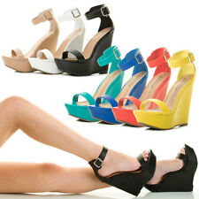 New Open Toe Single Band Ankle Strap Wedge Heel Platform Womens Pump Sandal Shoe