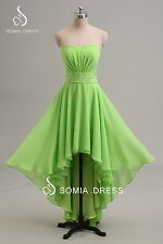 High Low Bridesmaid Formal Dress Ball Party Cocktail Evening Prom Gown Size 6-16