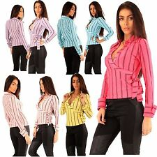 New Ladies Full Sleeve Wear Stripy Top Warp Over Collared Shirts 8-14