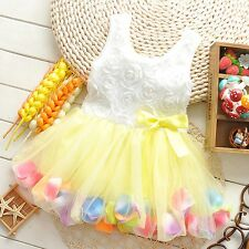 Baby Girl Dresses Size 000 00 0 1 2 Party Lace Bow Flower Girls Clothes FT1194